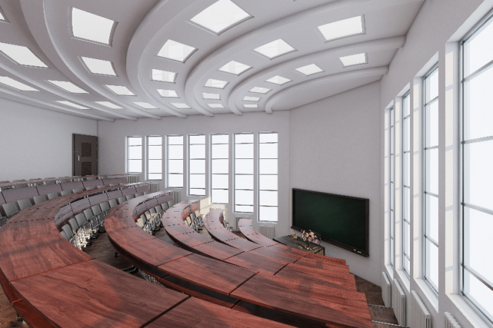Wide Angle View of a Lecture Room