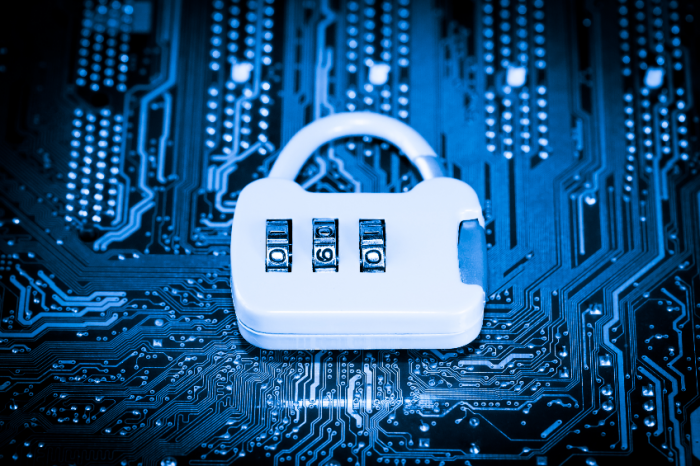 Abstract,close up of Lock on Mainboard Electronic computer background. (best internet top security)
