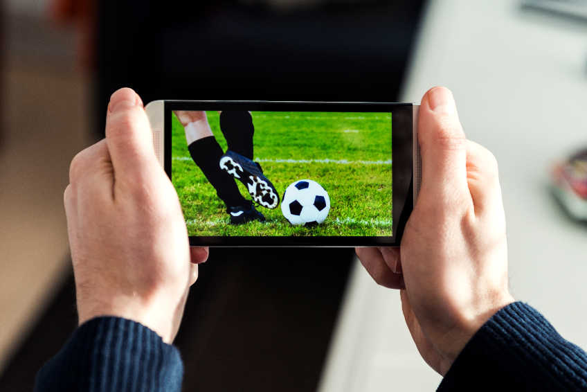 Soccer match live streamed on a mobile phone
