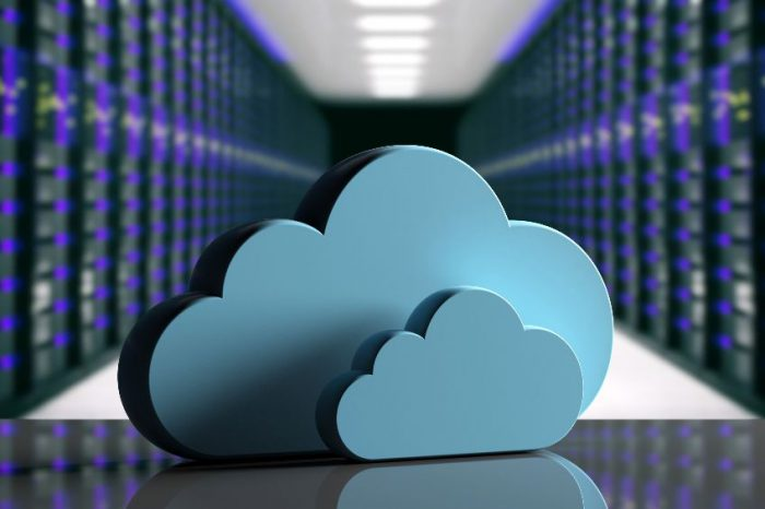 Cloud computing data center. Storage cloud on computer data center background. 3d illustration