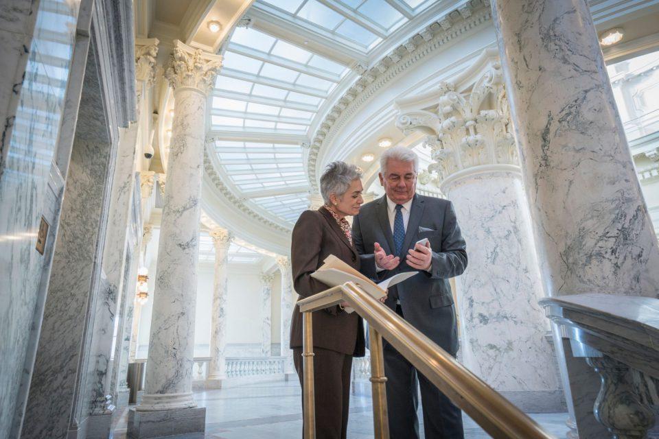 Caucasian senator talking in capitol