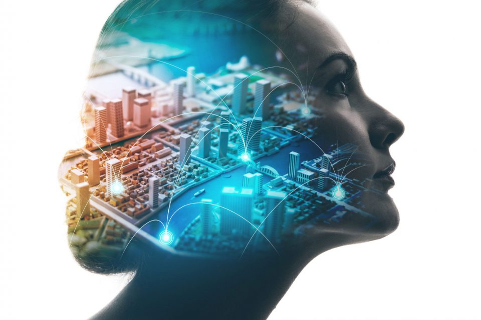 AI(Artificial Intelligence) concept. Woman profile and smart city. Mixed media.