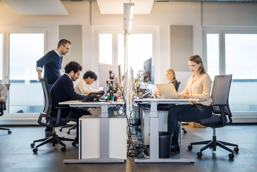 Business people working in a small office
