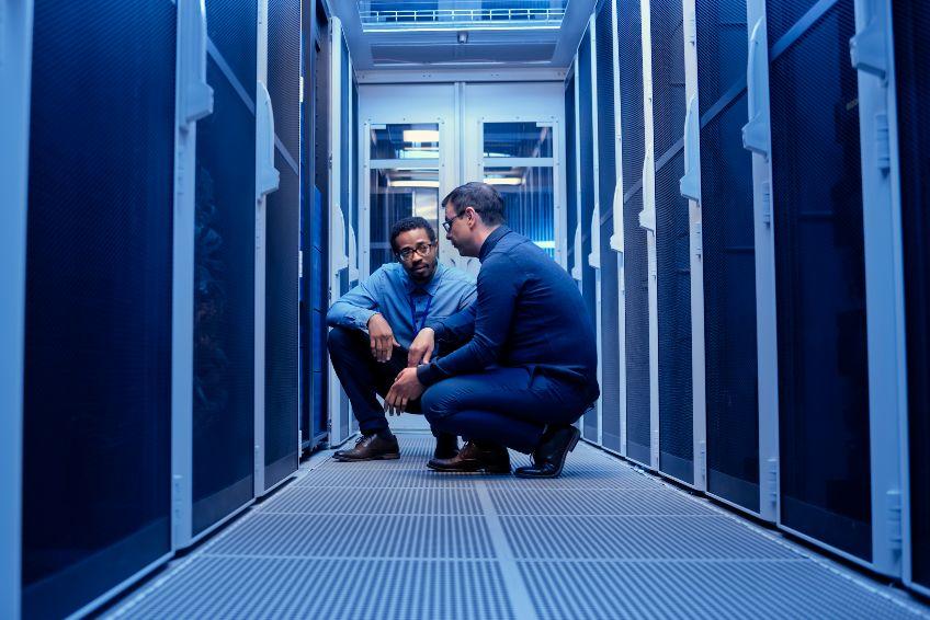 IT engineers checking servers